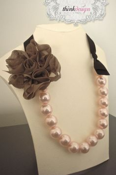 Pearl - ribbon necklace decorated with rose pin. Interested in buying?  Please contact @ my_thequill@yahoo.gr