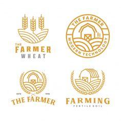 Collection of farm logo Premium Vector Identity Card Design, N Logo Design, Packaging Design Inspiration, Graphic Design Inspiration, Charity Branding, Ship Logo, Farm Logo, Logo Food, Creative Logo