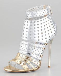 #JimmyChoo Malika Perforated Metallic Leather Sandal