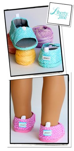 """Liberty Jane Open-Toe JANES 18"""" Doll Shoes designed to fit American Girl Dolls - make shoes like TOMS for your doll!"""