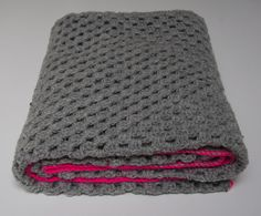 Grey granny square blanket with neon pink by PieceOfaCookie