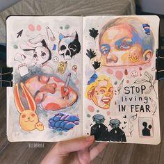 Kunstjournal Inspiration, Sketchbook Inspiration, Pretty Art, Cute Art, Arte Grunge, Arte Sketchbook, Sketchbook Pages, Sketchbook Ideas, Art Diary