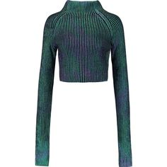 Self-Portrait Cropped iridescent ribbed-knit sweater featuring polyvore women's fashion clothing tops sweaters green white sweater ribbed knit sweater cut-out crop tops loose tops green top