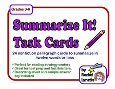 Each of these 24 Task Cards features a short, nonfiction paragraph. Students are challenged to summarize the paragraph in just twelve words or less...