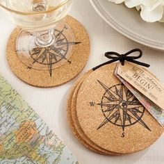 Peter Pan Wedding Theme Favors Fantastical Weddings Favors fantasticalweddings.com Compass Coasters | Beau-coup.com