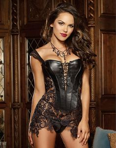 Dmart7deal Plus size Steampunk Gothic Women Faux Leather Burlesque lace corset Dress Corpete Corselet Lace up Sexy Women Waist Trainer