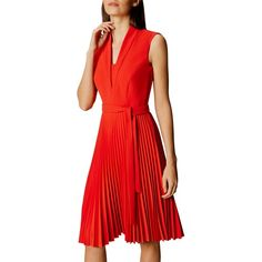 Karen Millen Shawl Collar Pleated Dress ($230) ❤ liked on Polyvore featuring dresses, red midi dress, sleeved maxi dress, red maxi dress, long-sleeve midi dresses and red knee length dress