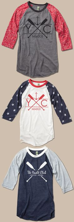 The Yacht Club Baseball Tee    The Yacht Club's take on the classic baseball tee, we gave this sporty shirt an extra hit of style with our exclusive designs and novelty print. Features a sold jersey body with contrasting 3/4-length printed sleeves. Made of unbelievably soft Eco-Jersey from our eco-friendly Yacht Club Collection.    - Eco-Jersey: 50% Polyester (6.25% Recycled), 38% Cotton (6.25% Organic), 12% Rayon   - Fabric printed and garment washed   - Unisex regular fit
