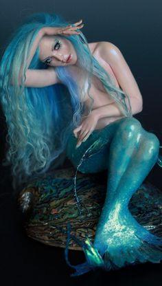 Mermaid ooak art doll polymer clay