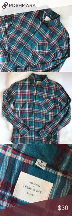 """Frank and Oak Plaid Classic Flannel Shirt High quality plaid flannel shirt from Frank & Oak. Good condition - slight piling throughout. A classic and essential year round layer. Features button down collar and chest pocket. Chest 19"""". Length 28"""". shoulder to shoulder 18"""". Measurements are taken with garment laid flat and approximate. No trades, offers welcomed. Frank & Oak Shirts Casual Button Down Shirts"""