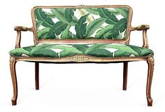 French Settee Loveseat Love Seat Dining Chairs Upholstered in Green White Palm Leaves Fabric Butterfly Butterflies Upholstery Tropical Gypsy by THRONEupholstery on Etsy https://www.etsy.com/listing/196816186/french-settee-loveseat-love-seat-dining