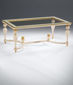 Century Italian Style Rectangular Carved Wood Coffee Table With Distressed  White Finish, Antique Gold Leaf Accents And Clear Glass Top