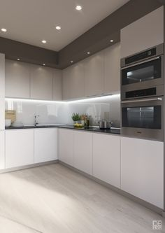 "For a small kitchen ""spacious"" it is above all a kitchen layout I or U kitchen layout according to the configuration of the space. Kitchen Room Design, Luxury Kitchen Design, Kitchen Cabinet Design, Home Decor Kitchen, Kitchen Layout, Interior Design Kitchen, New Kitchen, Home Kitchens, Kitchen Lamps"