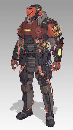 Robot Concept Art, Armor Concept, Character Design References, Character Art, Sci Fi Characters, Fictional Characters, Combat Armor, Futuristic Armour, Sci Fi Armor