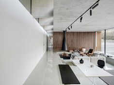 Beijing-based MDDM Studio has extended a house near the Great Wall of China by transforming a nearby storage unit into minimalist living… Interior Walls, Interior Design, Natural Stone Wall, Wood Cladding, Glass Facades, Great Wall Of China, Asian Decor, Open Plan Living, Minimalist Living