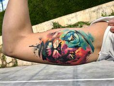 Tattoo done by: Pablo Ortiz #leon #liontattoo #lion #acuarela
