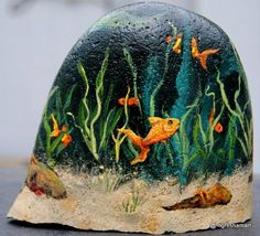 painted river rock, gold fish, handpainted rocks, aquarium art