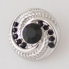 Silver Circle with Black rhinestones
