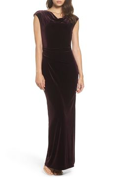 c9b1f01ede5 Main Image - Vince Camuto Cap Sleeve Draped Velvet Gown Cap Sleeve Gown
