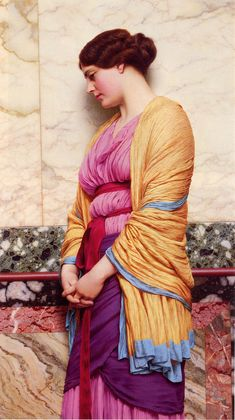"classic-art: "" In Pensive Mood John William Godward, 1919 "" John William Godward, Lawrence Alma Tadema, Classic Paintings, Beautiful Paintings, Pre Raphaelite Paintings, John Everett Millais, Victorian Paintings, Historical Art, Oil Painting Reproductions"