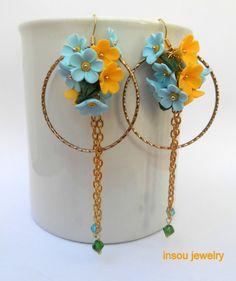 Forget me not earrings  Hoop earrings  Flower by insoujewelry