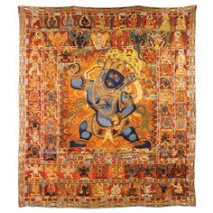 A LARGE SINO TIBETAN WOVEN AND EMBROIDERED SILK THANGKA, 20TH CENTURY.  DIM. 200 X 175 cm (78 3/4 X 68 7/8 IN.)
