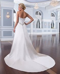 JoyVany Women's Satin Wedding Dresses for Bride 2016 Beaded Long Wedding Gowns at Amazon Women's Clothing store: