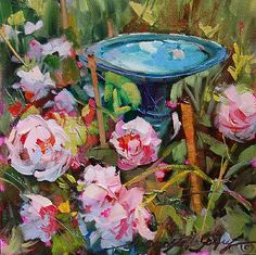 """Dreama Tolle Perry, """"Peonies and Reflections"""" Paintings I Love, Floral Paintings, Just Dream, Flower Art, Art Flowers, Learn To Paint, Pink Peonies, Pictures To Paint, Painting Inspiration"""