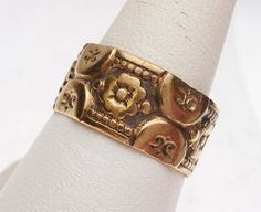 9k Floral Carved Eternity Style Band by KlinesJewelry on Etsy
