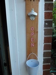 Using a pallet board, a bottle opener, stickers and a bucket we create a great outdoor bottle opener.