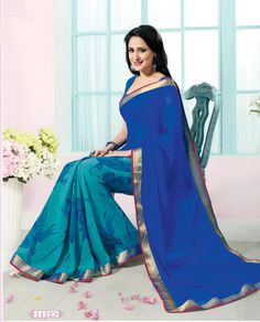 Blue printed georgette saree with blouse - Agrwalas - 443511 Latest Sarees, Georgette Sarees, Printed Sarees, Punjabi Suits, Saris, Ethnic Fashion, Indian Outfits, Beautiful Outfits, Couture