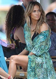 Jennifer Lopez In Bikini & Kaftan At Lauderdale Beach For New Music Video