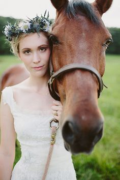 bride with a horse   With Love & Embers Photography   Bridal Musings