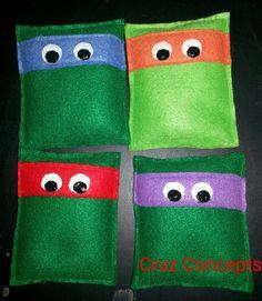 Tmnt ninja turtle party theme decor activity game Tmnt bean bag toss for points