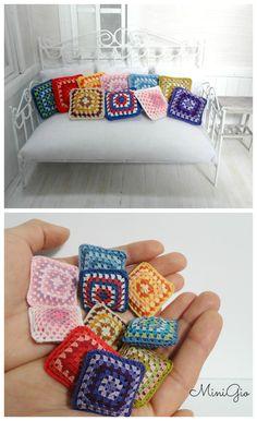 Miniature crochet pillows granny square by MiniGio