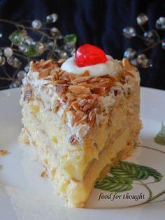 Food for thought: Τούρτα αμυγδάλου Greek Sweets, Greek Desserts, Greek Recipes, Fun Desserts, Dessert Recipes, Cookbook Recipes, Cooking Recipes, Greek Cake, Greek Pastries