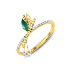 Add a little elegance to your routine,Get the best of both worlds with this classic Bansuri and Peacock feather Diamond Rings. Gold Jewelry Simple, Gold Rings Jewelry, Gold Bangles, Diamond Jewelry, Diamond Rings, Diamond Mangalsutra, Gold Jewellery, Fine Jewelry, Gold Ring Indian