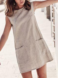 Hot Sale 2019 Summer Dress Womens O Neck Sleeveless Solid Linen Mini Dress With Pockets Fashion Casual Straight Sundress Linen Dresses, Casual Dresses, Fashion Dresses, Summer Dresses, Printed Dresses, Elegant Dresses, Sexy Dresses, Wrap Dresses, Casual Attire