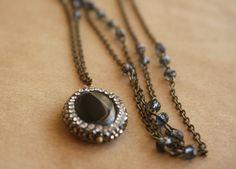 Bohemian Long Shade Necklace 30 Boho Gypsy Smoky Crystal by ByLEXY