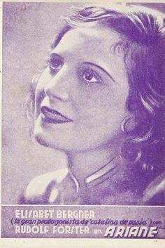 """Programa de mano de cine de la película """"Ariadne"""", estrenada en España entre 1928 y 1931"""