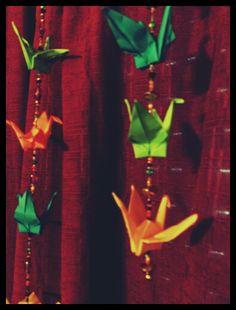 Colgante grulla papel origami