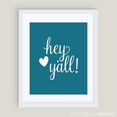 Hey Y'all {DIY Printable Wall Art} Teal Oasis www.ProjectGoble.com
