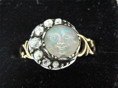 A Fabulous Georgian 1ct Old Cut Diamond Crescent & Moonstone Face Ring Cr 1800's