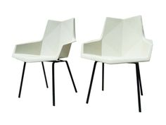Machine Age | Pair of Cream Fiberglass Chairs by Paul McCobb