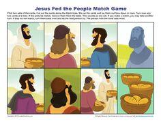 Jesus feeds 5000 Match Game | Printable Bible Activities for Children