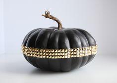 Spray Paint & Chardonnay: DIY: Studded Pumpkins #DIY #pumpkins #halloween