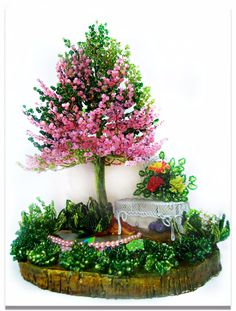 (3) Одноклассники Beaded Flowers Patterns, French Beaded Flowers, Wire Flowers, Copper Wire Art, Seed Bead Projects, Wire Tree Sculpture, 3d Quilling, Wire Trees, Jewelry Tree