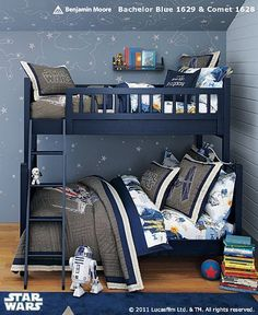 Little Boy Shared Star Wars Room- Pottery Barn I like the bed BUT i dont like the idea of one son having a bigger bed, doesnt seem fair