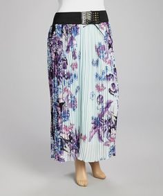 Love this Blue & Violet Floral Pleated Maxi Skirt - Plus on #zulily! #zulilyfinds