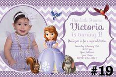 Sofia The First Birthday Party Invitation Photo / Chevron Printable